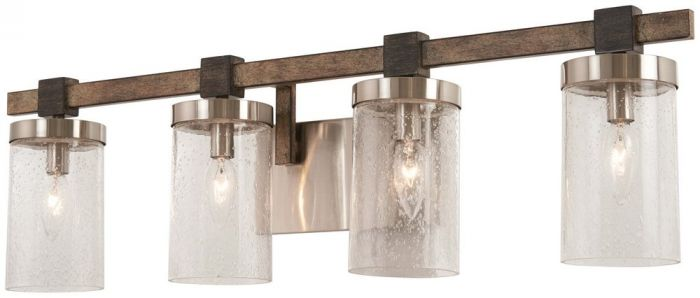 "Minka Lavery Bridlewood Stone Grey With Brushed Nickel: Minka Lavery Bridlewood 4-Light 31"" Bathroom Vanity Light"