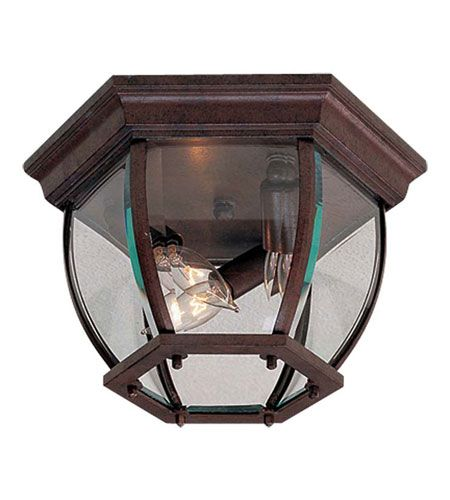 """The Great Outdoors Wyndmere 3-Light 7"""" Outdoor Ceiling Light in Antique Bronze"""