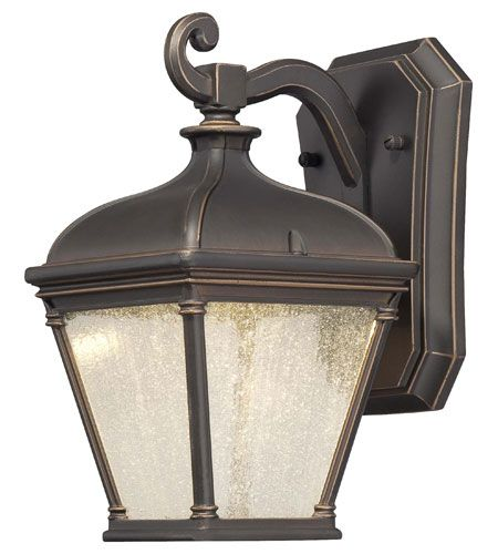 """The Great Outdoors Lauriston Manor 10"""" Outdoor Wall Light in Oil Rubbed Bronze with Gold Highlights"""