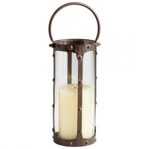 "Cyan Design Borin 16.75"" Iron and Glass Candleholder in Rustic"