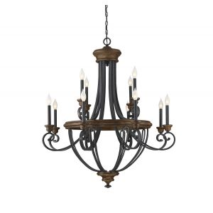 Savoy House Wickham 12-Light Chandelier in Whiskey Wood