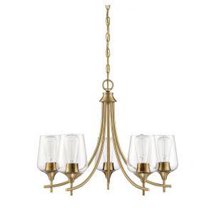 """Savoy House Octave 23"""" 5-Light Chandelier in Warm Brass"""