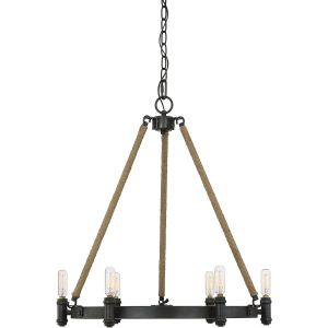 """Savoy House Piccardy 22"""" 6-Light Chandelier w/ Rope in Rustic Black"""