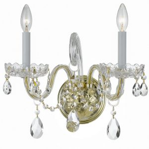 """Crystorama Trad Crystal 12"""" 2-Light Spectra Wall Sconce in Polished Brass"""