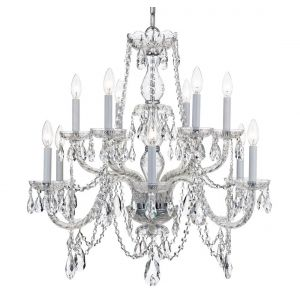 """Crystorama Trad Crystal 31"""" 12-Light Chandelier in Polished Chrome"""