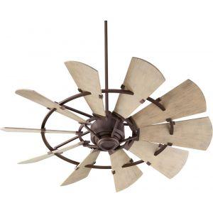 """Quorum International Windmill 52"""" Damp Fan in Oiled Bronze"""