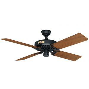"Hunter Original 52"" Outdoor Teak Blade Ceiling Fan in Black"