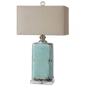 "Uttermost Adalbern 30"" Blue Crackle Table Lamp in Polished Nickel"