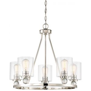 "Minka Lavery Studio 5 25.5"" 5-Light Chandelier in Polished Nickel"