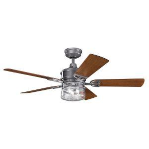 """Kichler Lyndon Patio 52"""" Ceiling Fan in Weathered Steel Powder Coat"""
