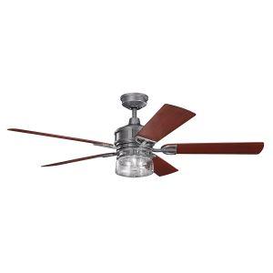 """Kichler Lyndon Patio 60"""" Ceiling Fan in Weathered Steel Powder Coat"""