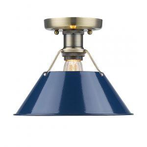 "Golden Lighting Orwell 10"" Flush Mount in Aged Brass w/ Navy Blue Shades"