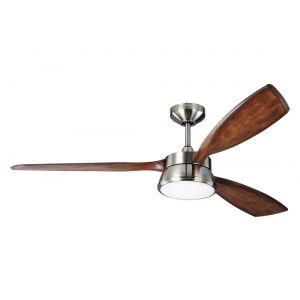 """Monte Carlo Destin 57"""" LED Ceiling Fan in Brushed Steel w/ Koa Blade"""