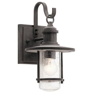 "Kichler Riverwood 12.5"" Outdoor Wall Sconce in Weathered Zinc"