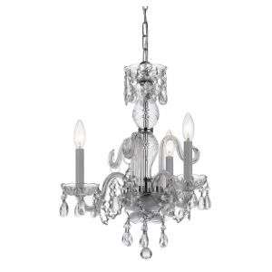 """Crystorama Trad Crystal 16"""" 3-Light Mini Chandelier in Polished Chrome"""