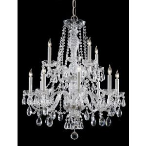 """Crystorama Trad Crystal 26"""" 12-Light Chandelier in Polished Chrome"""