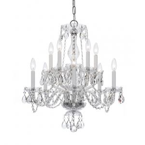 """Crystorama Trad Crystal 23"""" 10-Light Chandelier in Polished Chrome"""