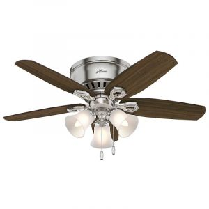 "Hunter Builder 42"" 3-Light Indoor Ceiling Fan in Brushed Nickel/Chrome"