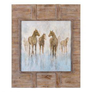 """Uttermost Headed To The Barn 56.25"""" Horse Print in Barnwood Frame"""