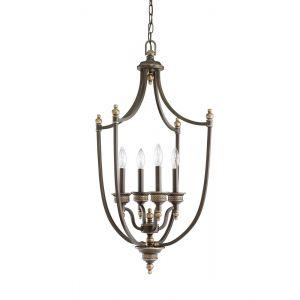 """Sea Gull Lighting Laurel Leaf 19"""" 4-Light Foyer Pendant in Estate Bronze"""