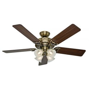 "Hunter Studio Series 52"" LED Classic Ceiling Fan in Antique Brass"