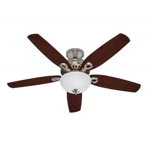 "Hunter Builder Deluxe 52"" Ceiling Fan in Brushed Nickel"