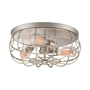 Millennium Lighting Neo-Industrial 3-Light Flush Mount in Satin Nickel