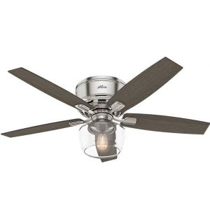 "Hunter Bennett 52"" LED Indoor Clear Ceiling Fan in Brushed Nickel/Chrome"
