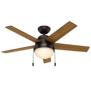 "Hunter Anslee 46"" 2-Light Indoor Ceiling Fan in Bronze/Brown"