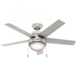 "Hunter Anslee 46"" 2-Light Indoor Ceiling Fan in White"