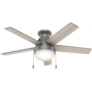 "Hunter Anslee 46"" LED Low Profile Indoor Ceiling Fan in Matte Silver"