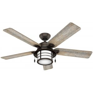 """Hunter Key Biscayne 54"""" Outdoor Ceiling Fan in Onyx Bengal"""