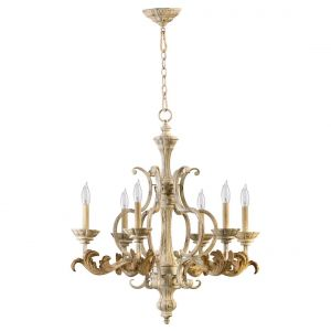 "Quorum Florence 27"" 6-Light Chandelier in Persian White"