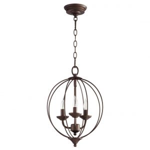 "Quorum Flora 12.75"" 3-Light Chandelier in Oiled Bronze"