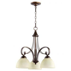 """Quorum Lariat 23"""" 3-Light Nook Chandelier in Oiled Bronze"""