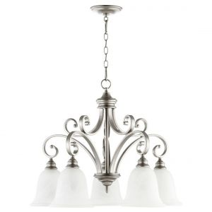 "Quorum Bryant 30"" 5-Light Nook Chandelier in Classic Nickel"
