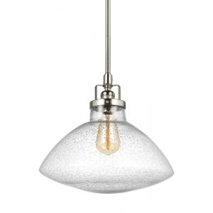 Sea Gull Lighting Belton Clear Seeded Glass Pendant in Brushed Nickel