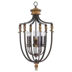 """Quorum Capella 15.5"""" 6-Light Entry Chandelier in Toasted Sienna/Golden Fawn"""
