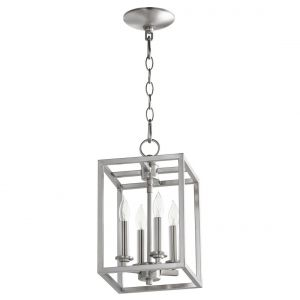 "Quorum Foyer 8"" 4-Light Entry Chandelier in Satin Nickel"