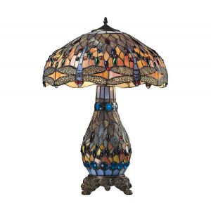 "Dimond Dragonfly 26"" Tiffany Glass Table Lamp in Tiffany Bronze"