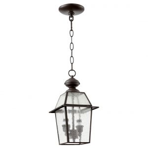 "Quorum Duvall 6.75"" 2-Light Clear Seeded Glass Mini-Pendant in Bronze"