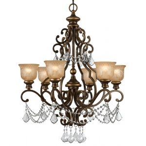 "Crystorama Norwalk 28"" 6-Light Italian Crystal Chandelier in Bronze Umber"