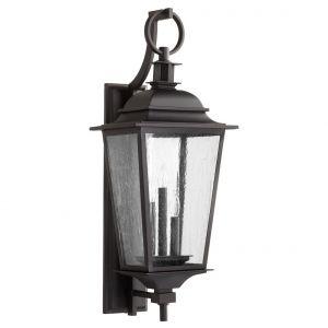 "Quorum Pavilion 31"" 3-Light Outdoor Wall Lantern in Noir"