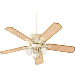 """Quorum Chateaux Uni-Pack 52"""" 3-Light Ceiling Fan in Persian White"""