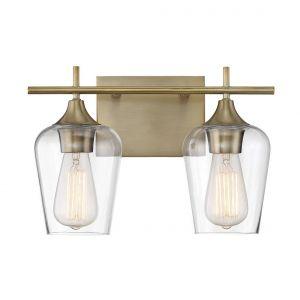 Savoy House Octave 2-Light Bath Bar in Warm Brass