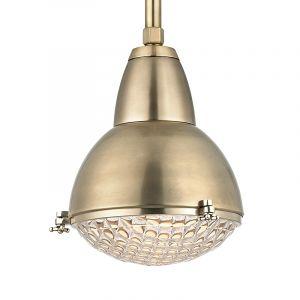 Hudson Valley Belmont 1-Light Pendant in Aged Brass