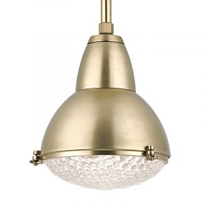 """Hudson Valley Belmont 1-Light 15.25"""" Pendant in Aged Brass"""