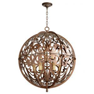 """Quorum Montgomery 28"""" 9-Light Chandelier in Vintage Copper"""