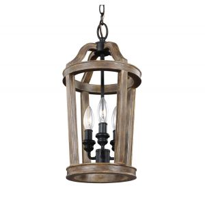 Feiss Lorenz 3-Light Mini-Pendant in Weathered Oak Wood