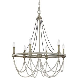 Feiss Beverly 6-Light Chandelier in French Oak/Distressed White Wood